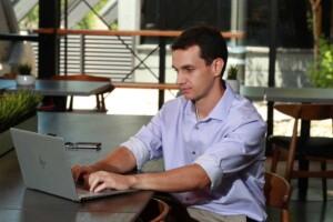 Social media manager on laptop